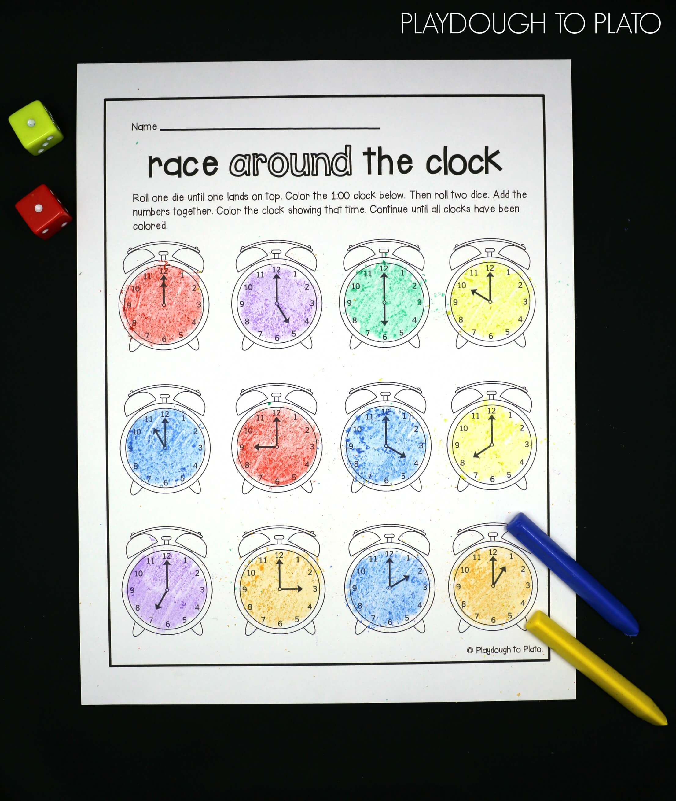 telling time activity pack playdough to plato