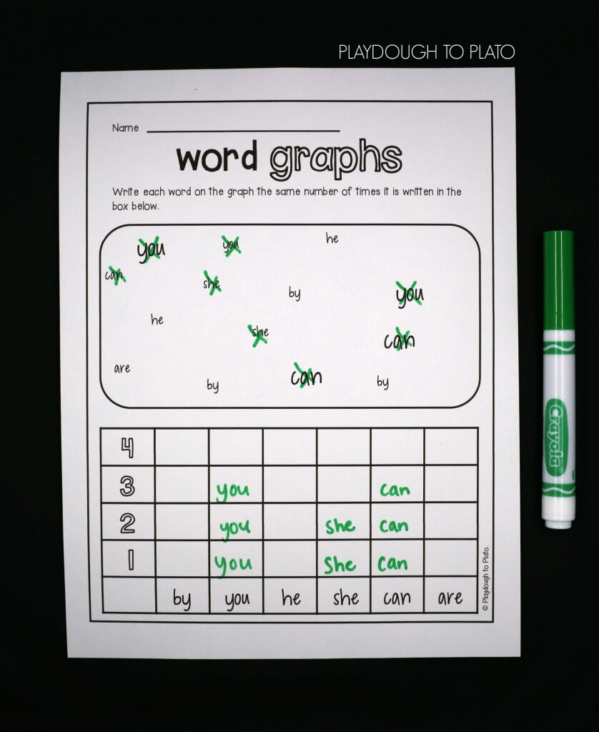 Write each word on the graph the same number of times it is written in the box!