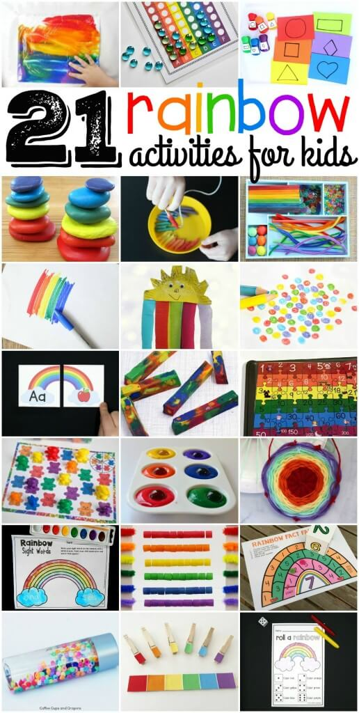 21 awesome rainbow activities for kids. Bright and colorful ABC games, sight word activities, math games... even science experiments!