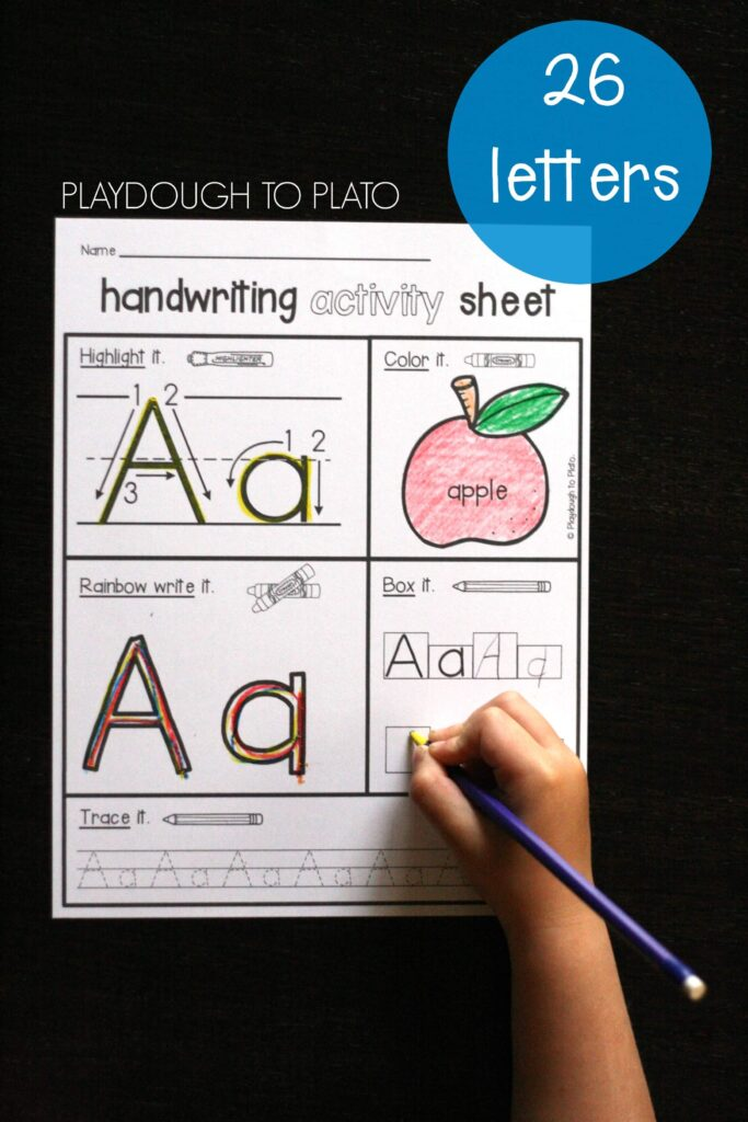 26 NO PREP Handwriting Activity Sheets. These are awesome!! Such a fun way to practice letter names, letter sounds and letter formation on one page!