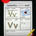 Handwriting activity sheets for the letters C, F, H and V.