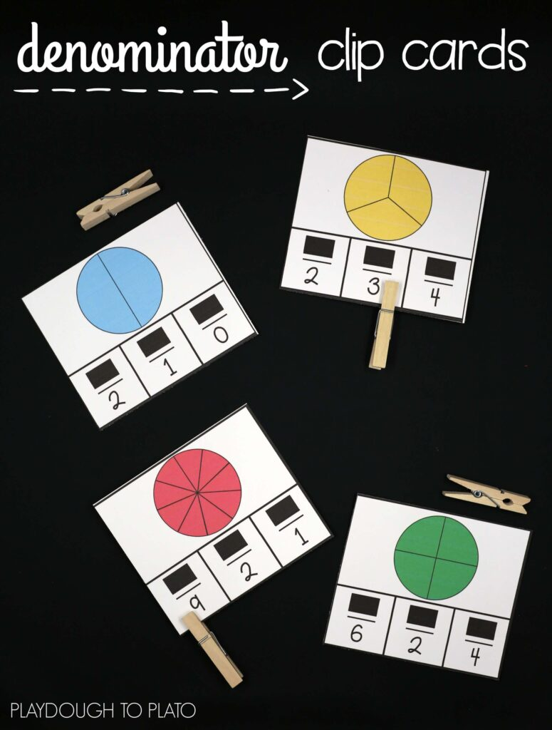 I love this hands-on fraction activity! Denominator clip cards. Great way to learn about the parts of fractions.