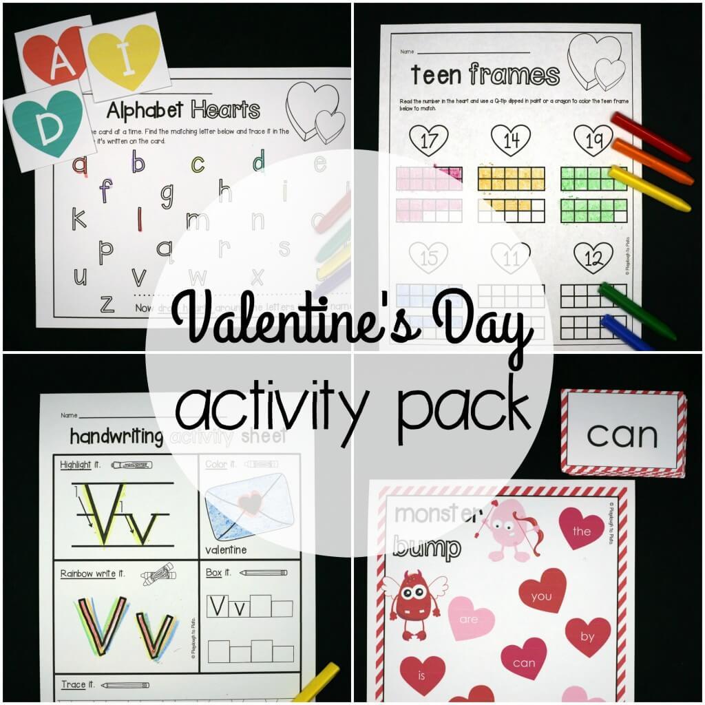 Valentine's Day activity pack for preschool and kindergarten.