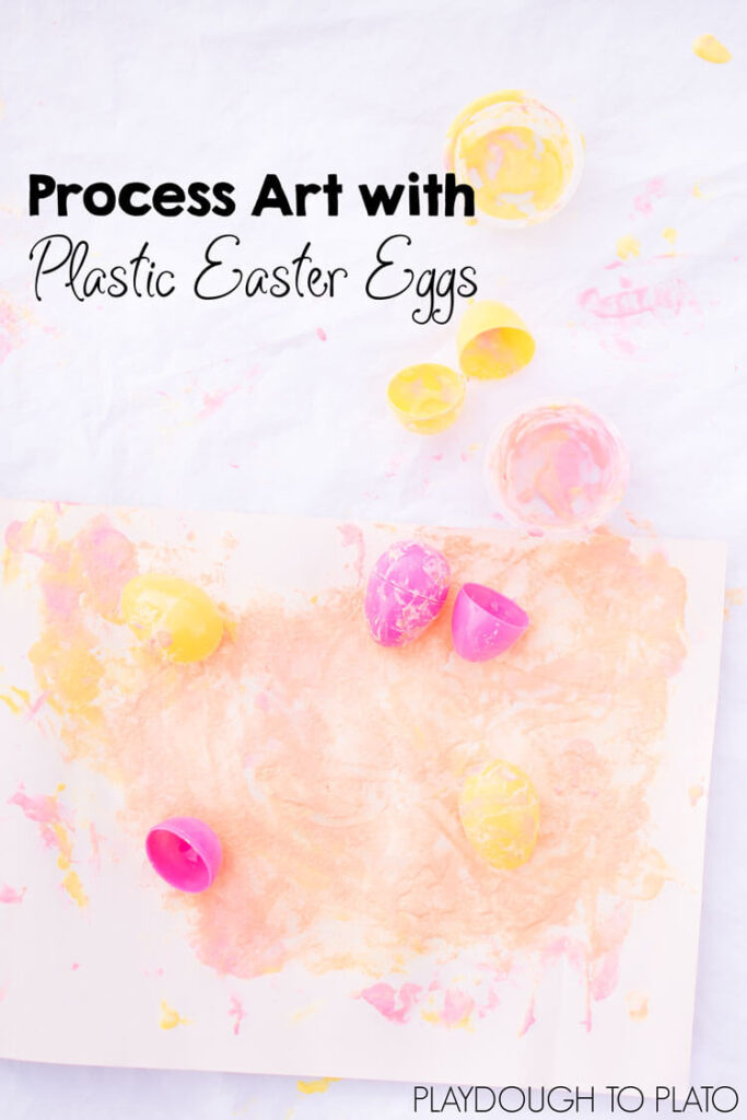 Simple art ideas for kids: Try some process art with plastic Easter eggs today! Perfect for toddlers, preschoolers, and kindergartners.