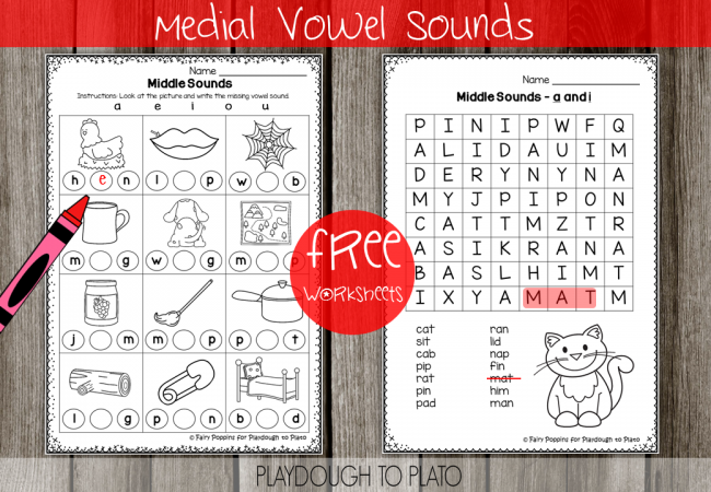 Worksheet Middle Sound Worksheets middle sounds worksheets playdough to plato free medial vowel sounds