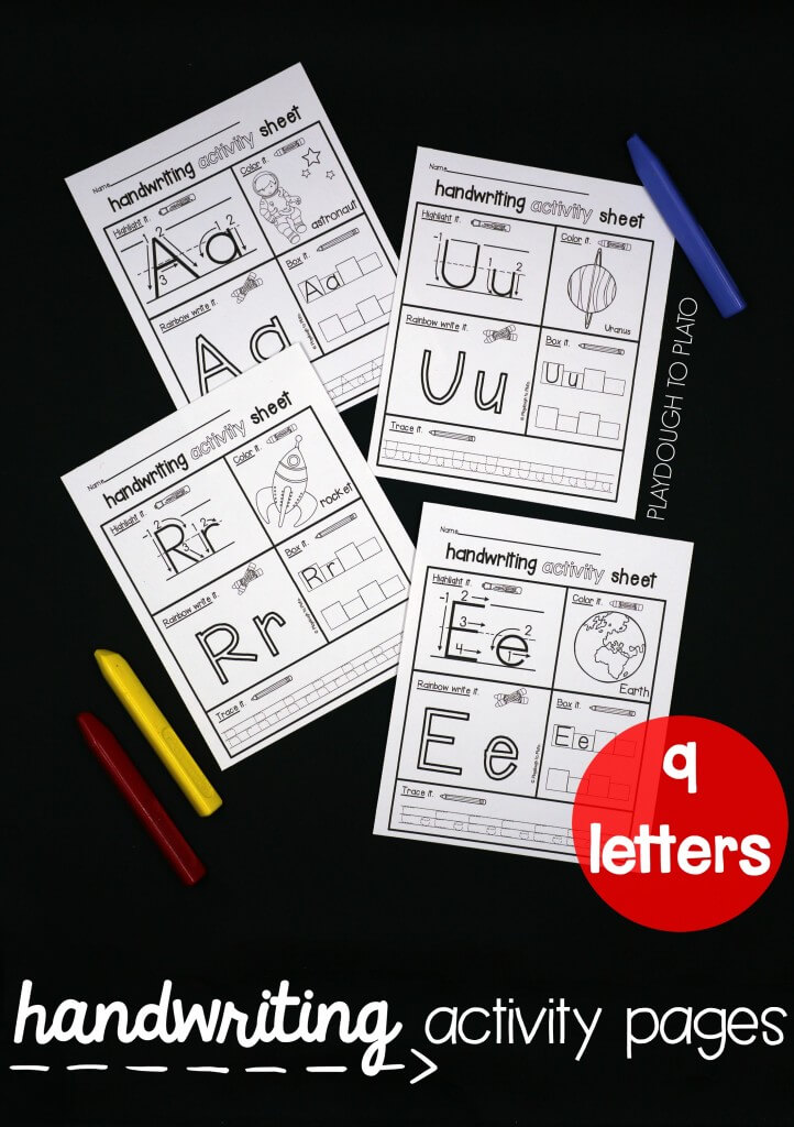 Practice letter names, letter sounds and letter formation with a set of space-themed handwriting activity sheets!