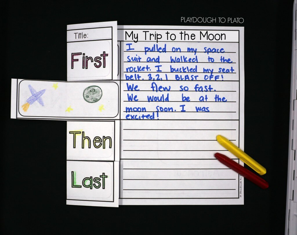 Practice sequencing, story telling and writing skills while kids take a trip to the moon.