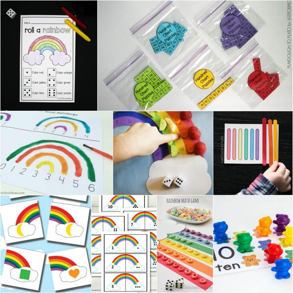 Rainbow math activities for kids