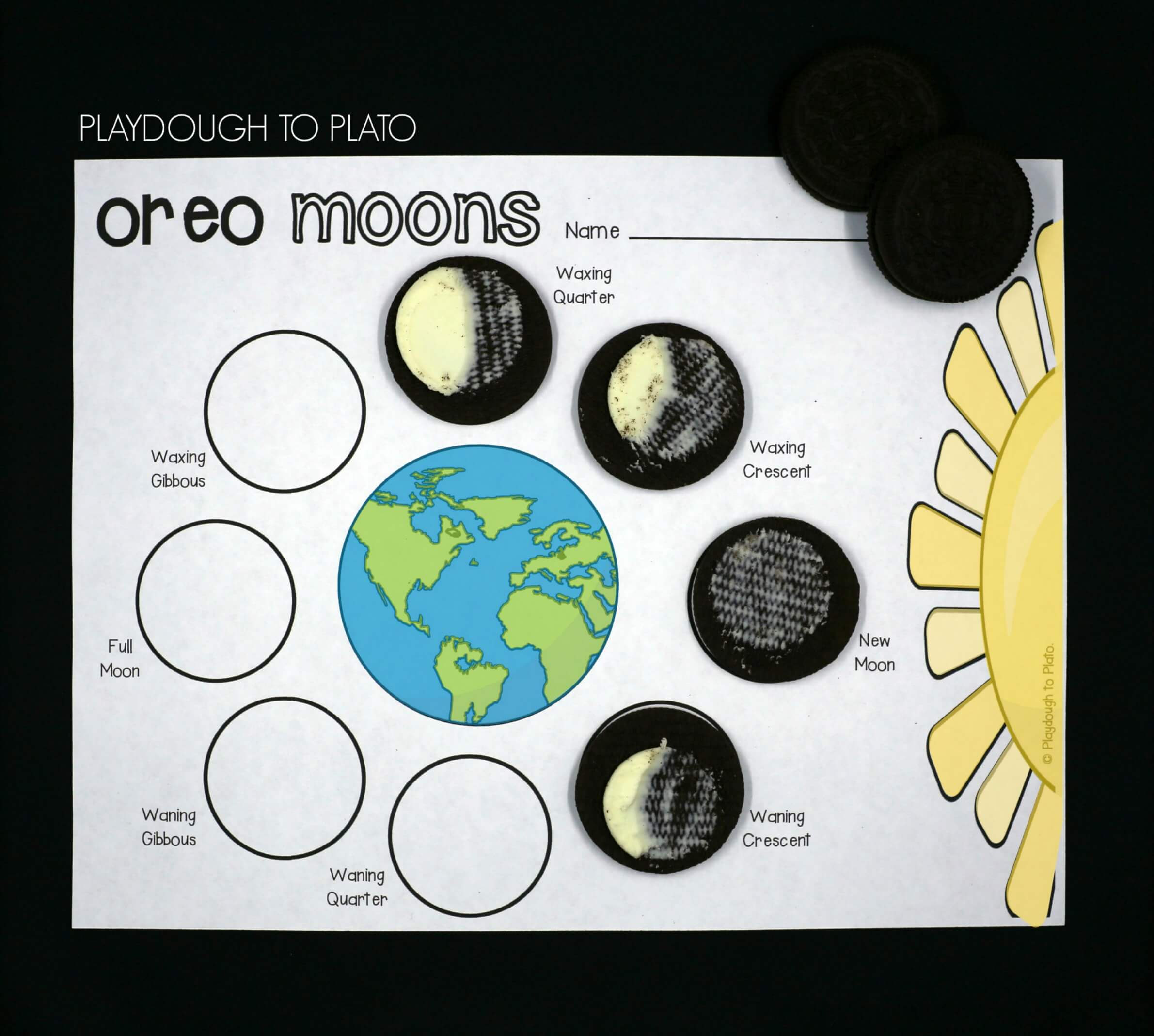 Outer Space Activity Pack Playdough To Plato – Oreo Moon Phases Worksheet