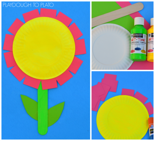 Kids can make this paper plate flower to brighten up home or classroom this spring. It also makes a great homemade Mother's Day gift from kids.