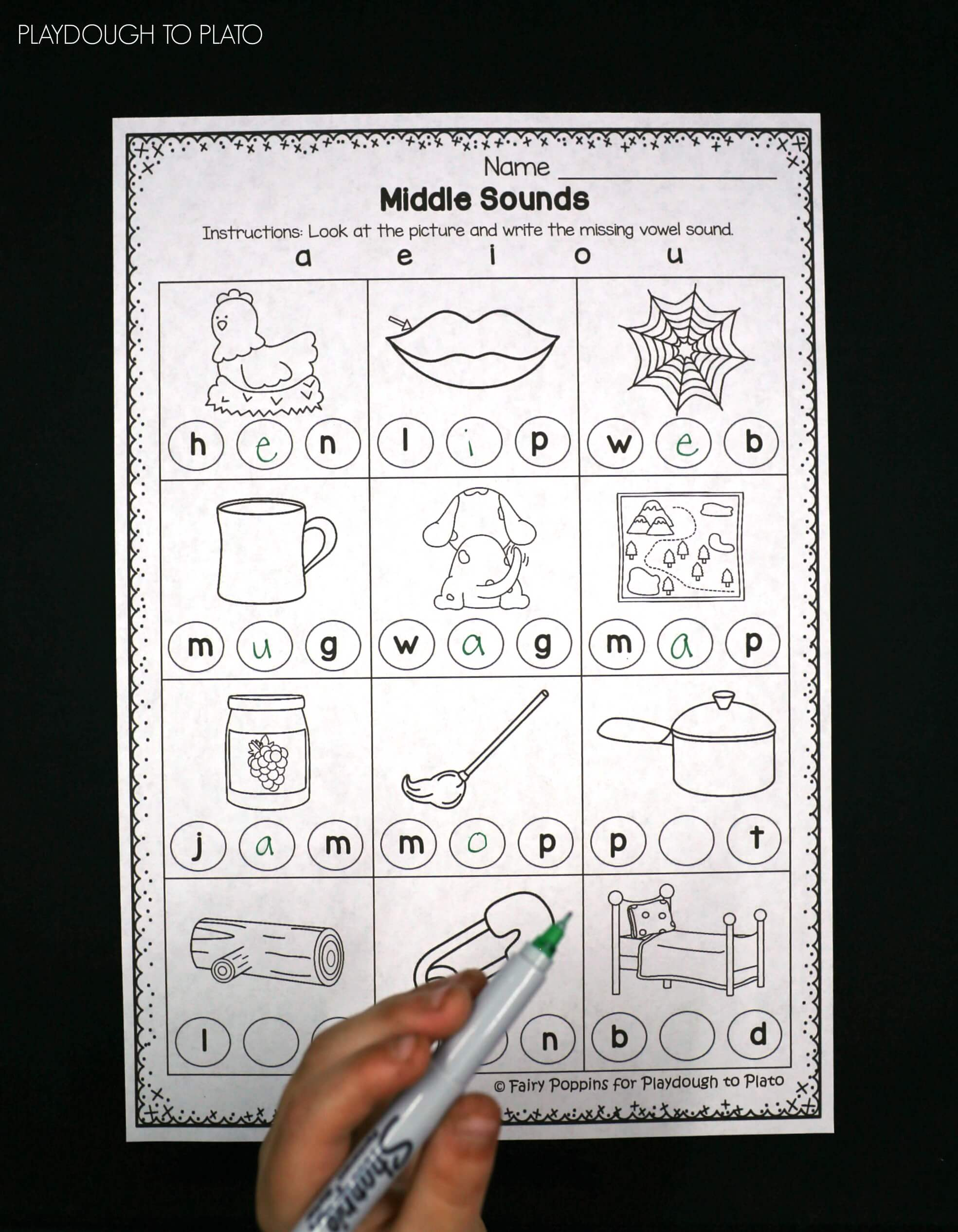 Worksheet Middle Sound Worksheets middle sounds worksheets playdough to plato free sound worksheets