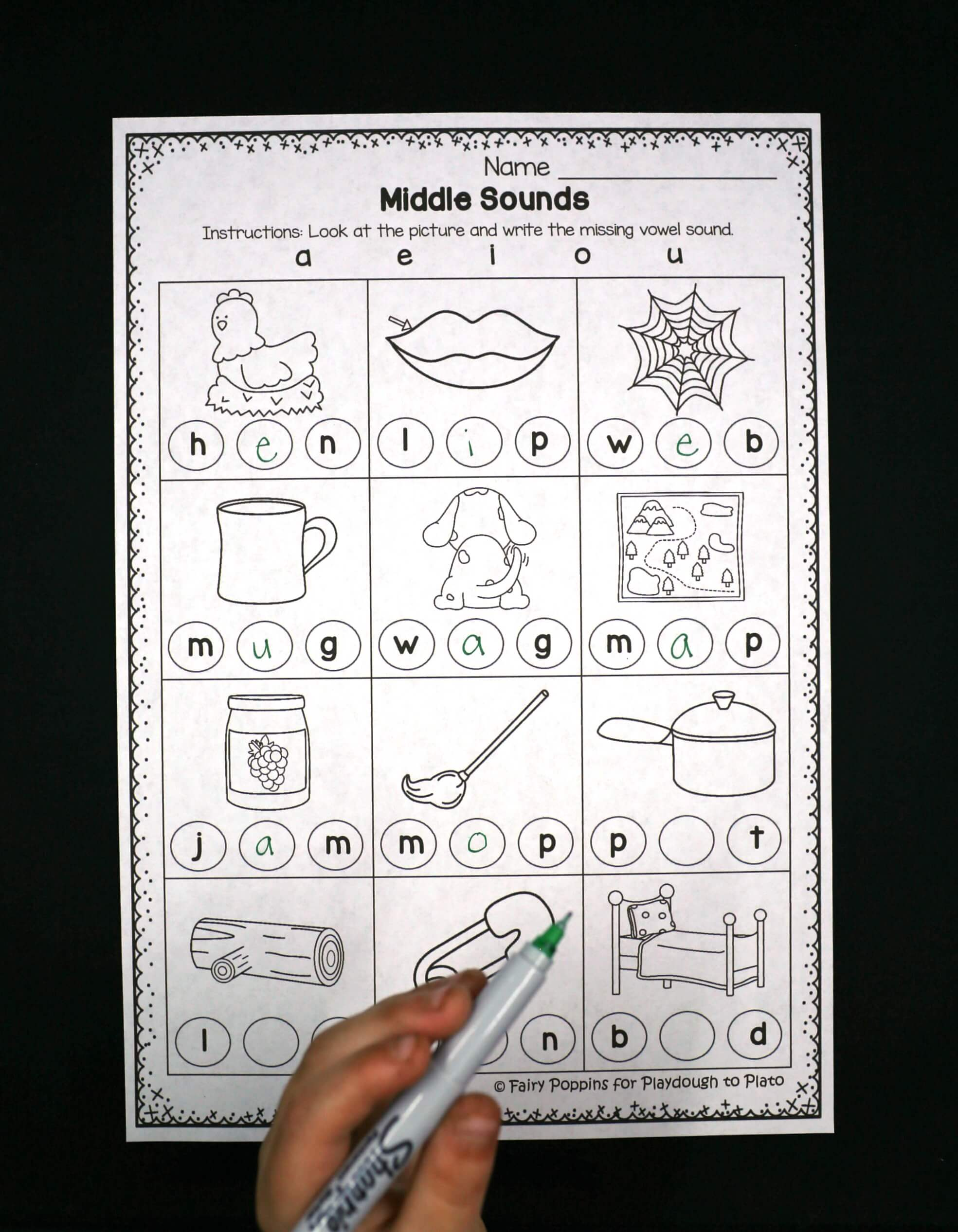 Middle Sounds Worksheets Playdough