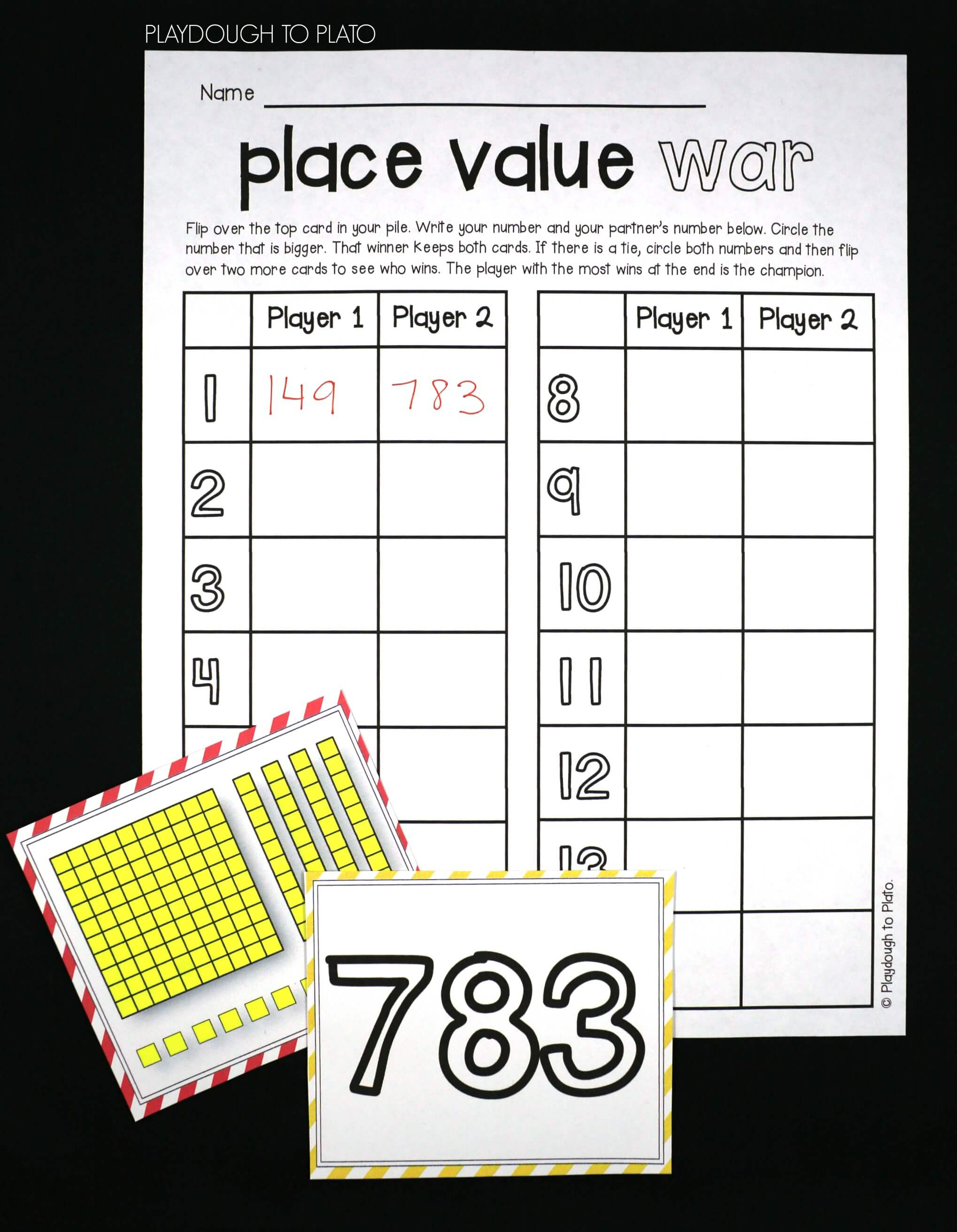 picture regarding Printable Place Value Game identify Space Worth War - Playdough Toward Plato