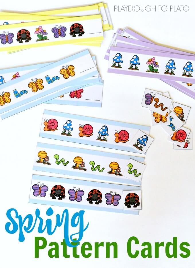 Spring Pattern Cards for Preschoolers and Kindergarteners!