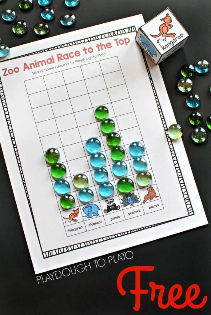 Zoo Animal Race to the Top Counting Game for Preschoolers.
