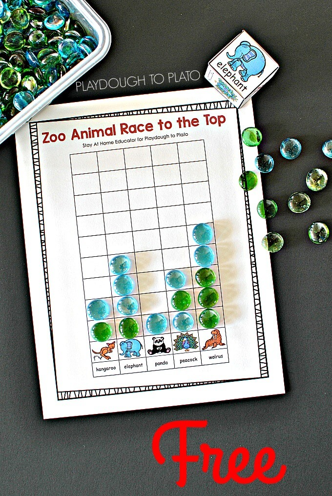 Zoo Animal Race to the Top Counting Game for Preschoolers