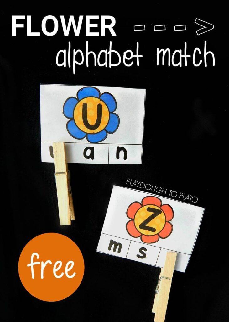 flower alphabet match pin