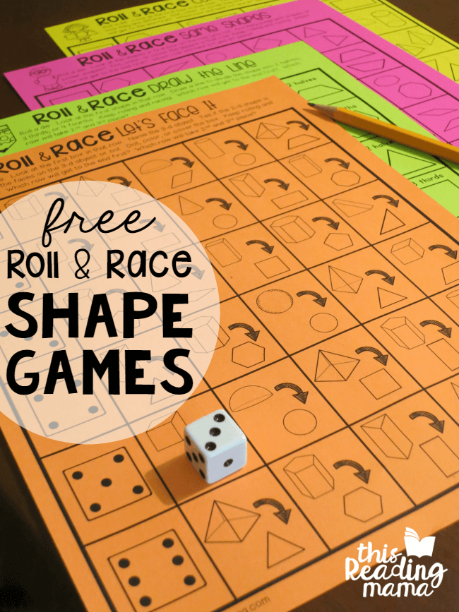 FREE Roll and Race Shape Games - 2nd Grade