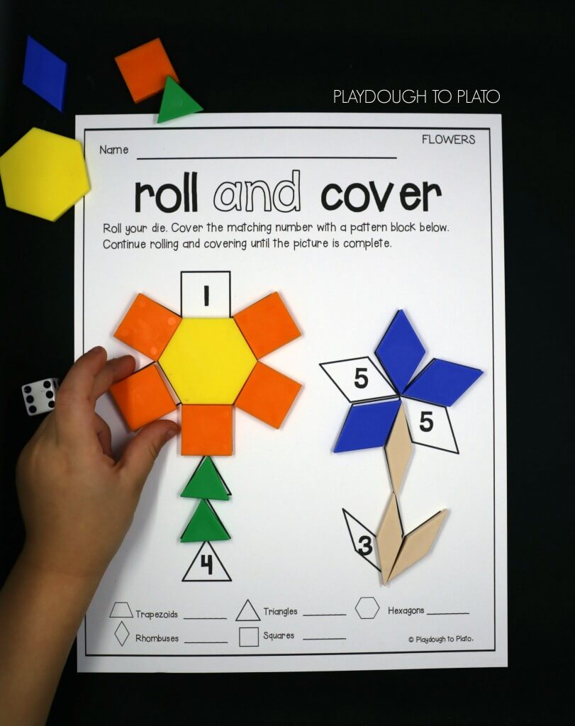 Roll And Cover Pattern Block Mats Playdough To Plato