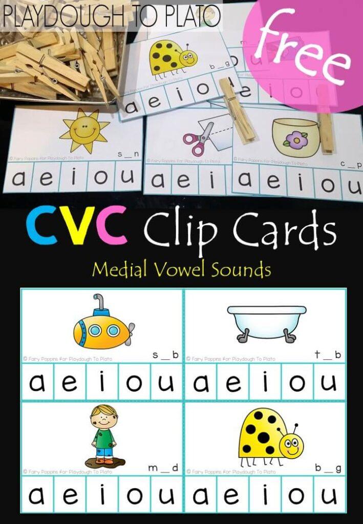 Medial Vowel Clip Cards