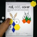Roll, Add and Cover Addition and Pattern Block Game