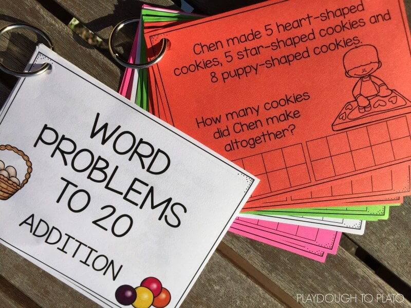 Free addition word problems to 20. Your kids will love using these!