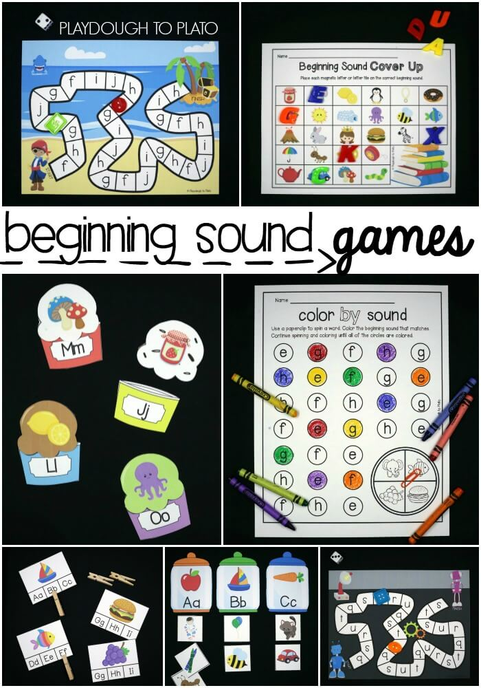 Eleven beginning sound games are the perfect combination of fun and learning for pre-k and kindergarten kids. Grab the whole pack from Playdough to Plato.