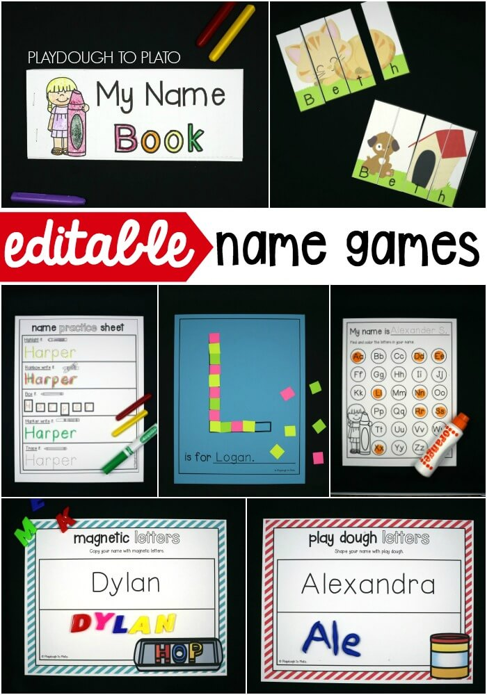 Editable name games! Perfect for preschool or kindergarten.