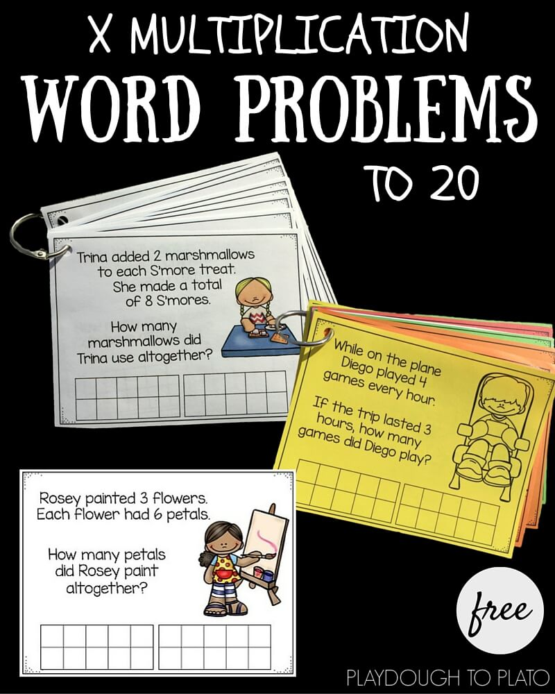 These free multiplication word problem cards help kids think about how to solve real life-type math problems!