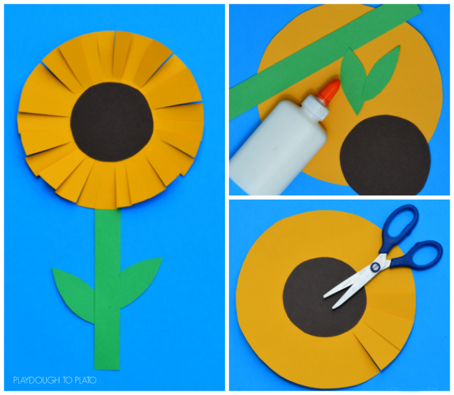 This paper sunflower craft is a great craft for kids to end the summer and start the fall. It requires very little to prep and works on scissor skills