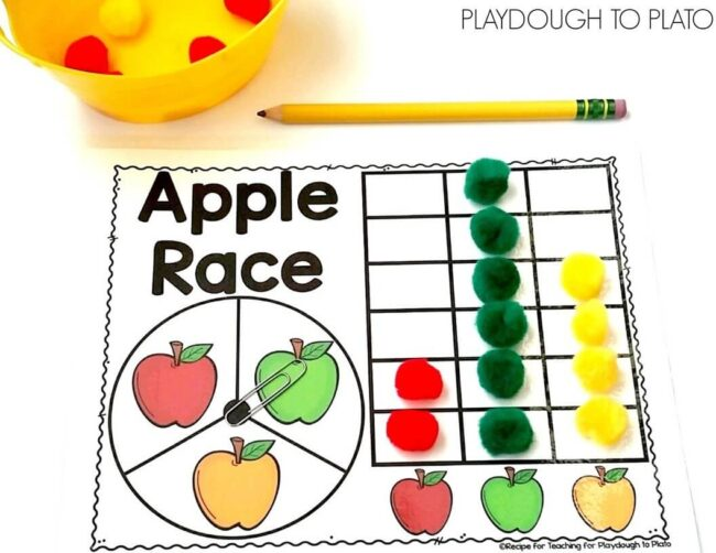 Apple Race Math Game - Playdough To Plato