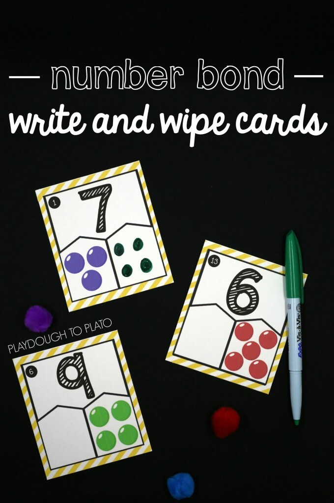 Fun number bond write and wipe cards. Great number bond activity for first grade math!