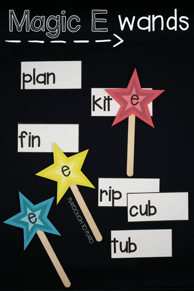 Magic E wands! Fun way to practice short and long vowels