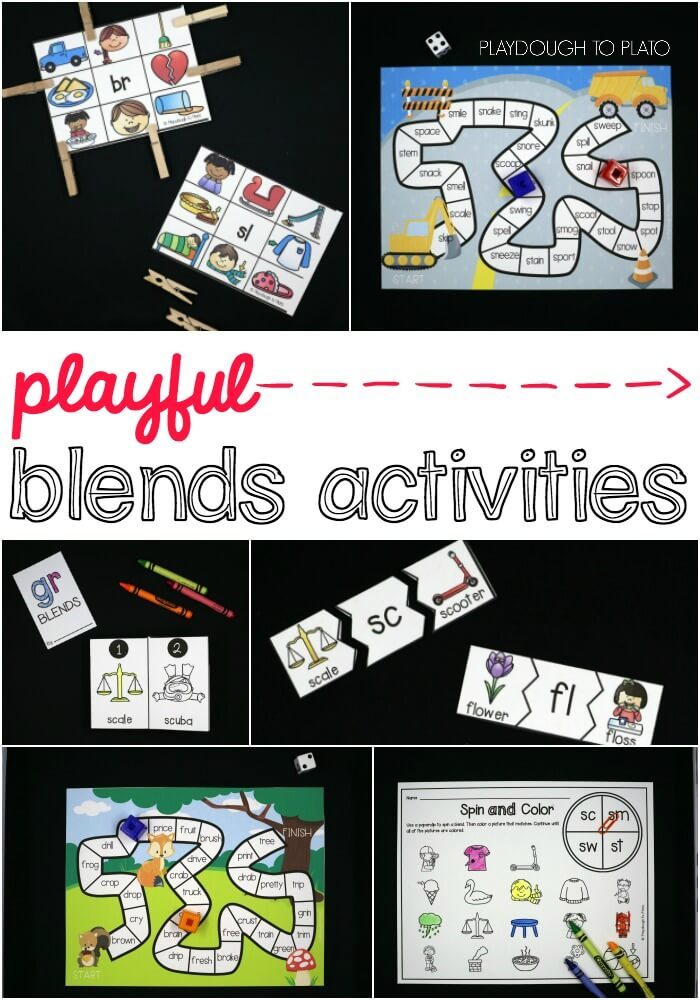 Playful blends activities for kids! So many fun ways to learn the most common blends including CL-, FR- and ST-.