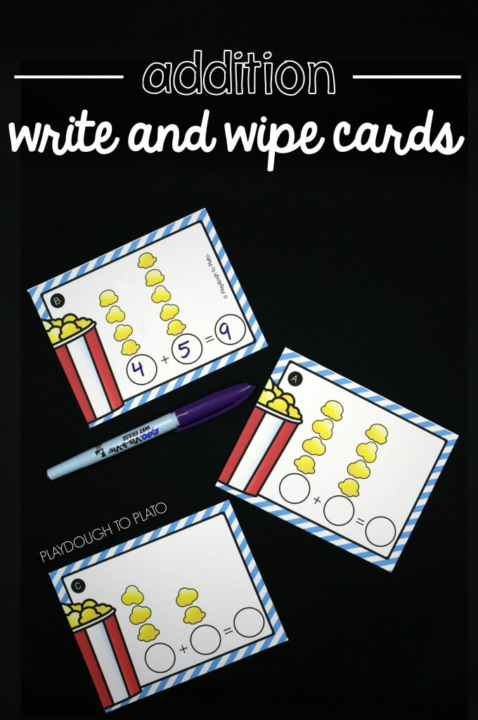 Popcorn write and wipe addition cards!
