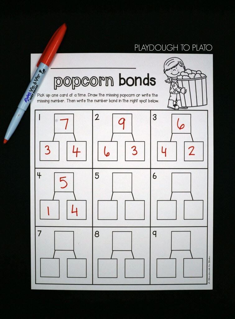 Solve the number bond cards and then record them on the sheet.