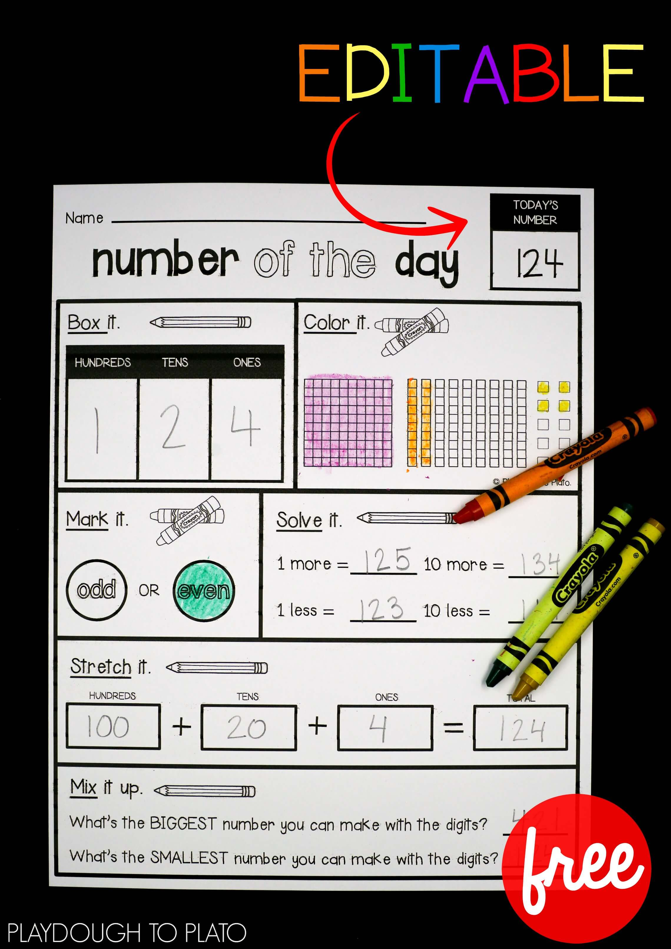 EDITABLE Number of the Day Sheet   Playdough To Plato