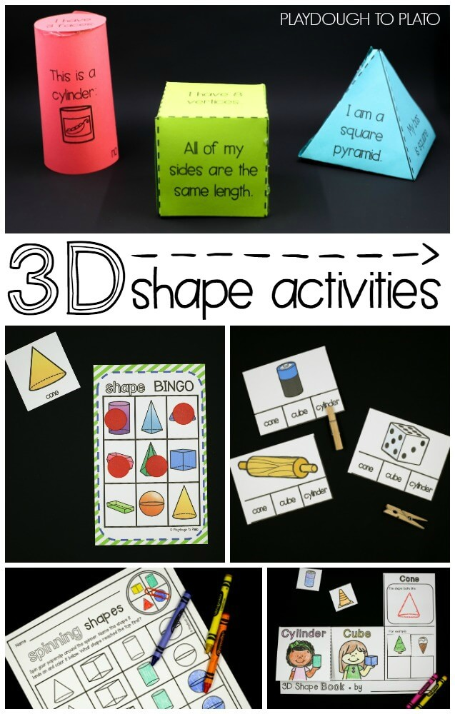 3D Shapes Activity Pack Playdough To Plato