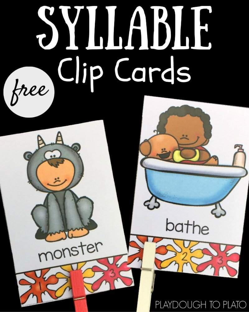 These free self-checking syllable clip cards are great for thinking about how words are constructed.