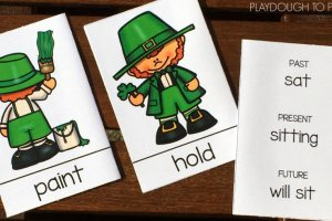 Grab these free resource cards with St. Patrick's Day verbs and have some fun with past, present and future tense writing!