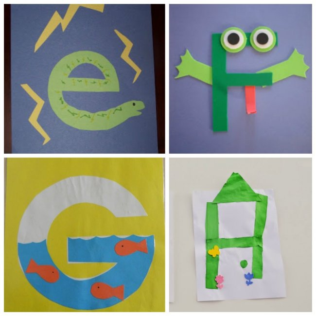 These letter of the week crafts give young kids a fun way to learn what sounds to associate with what letter. All the letters in one place!