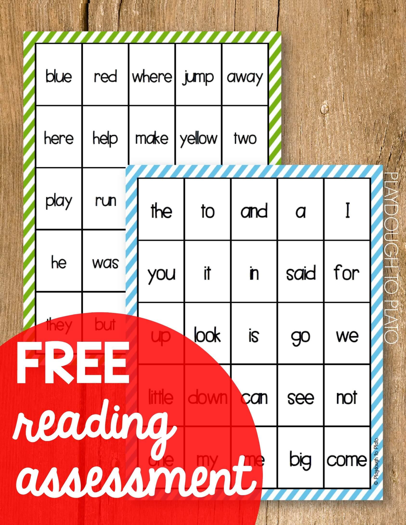 Free Reading Assessment - Playdough To Plato