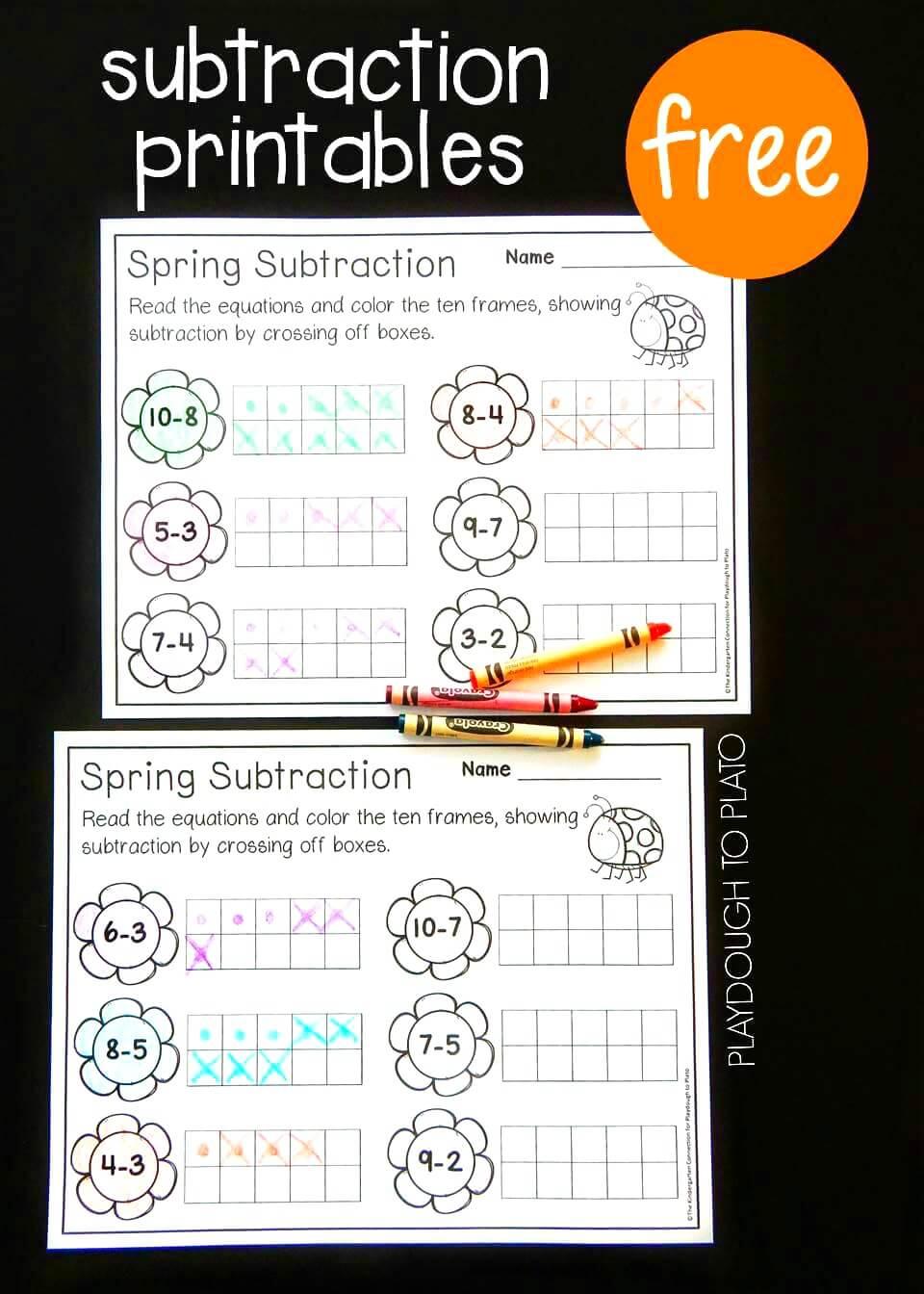photo regarding Printable Tens Frames identify Spring 10 Body Subtraction - Playdough Towards Plato