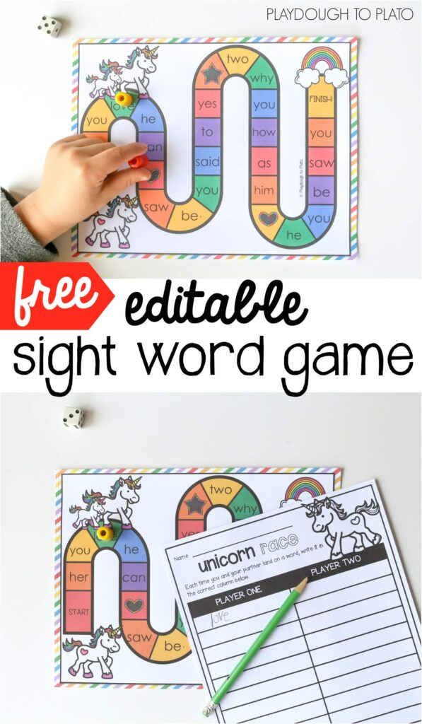 picture about Free Printable Sight Word Games identified as Unicorn Sight Phrase Sport - Playdough In the direction of Plato