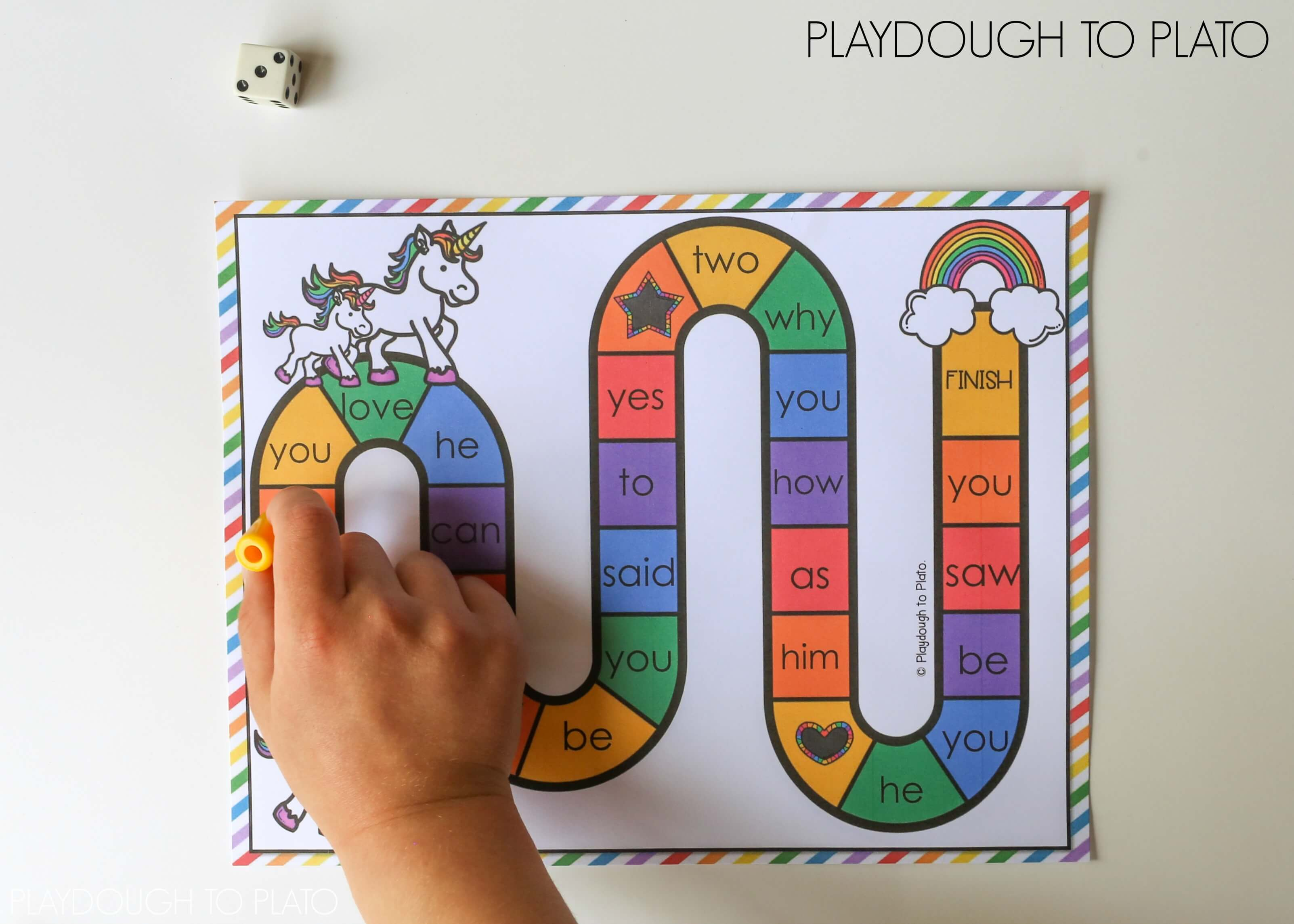 picture regarding Printable Sight Word Games known as Unicorn Sight Term Recreation - Playdough Towards Plato