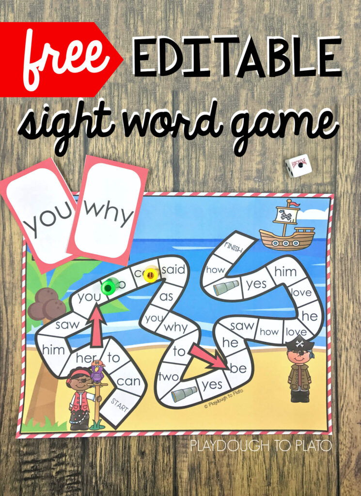 graphic regarding Sight Word Games Printable identify Pirate Sight Term Sport - Playdough In direction of Plato
