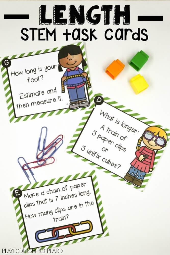 Linear Measurement STEM Cards - Playdough To Plato