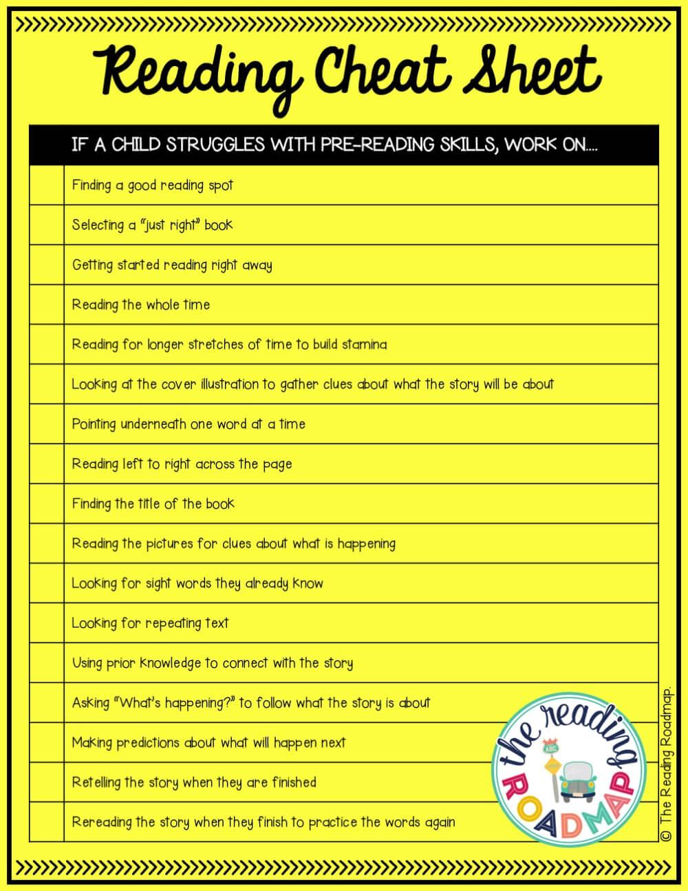 Reading Cheat Sheets - Playdough To Plato