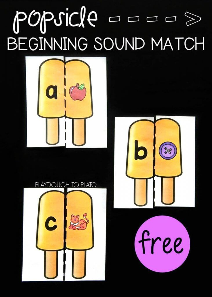 Popsicle Beginning Sound Match a free literacy center by Playdough to Plato.