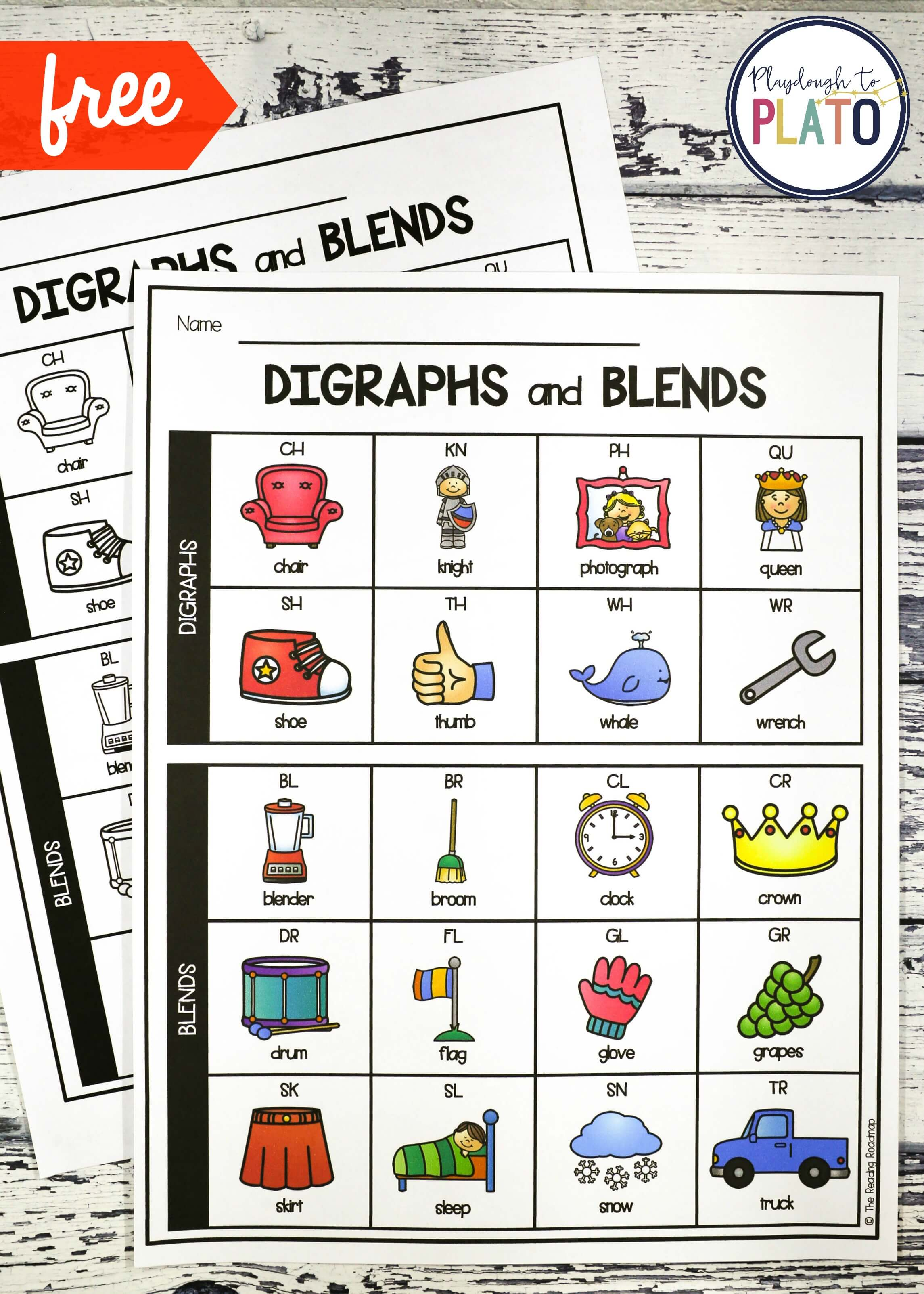Digraph And Blend Chart Playdough To Plato